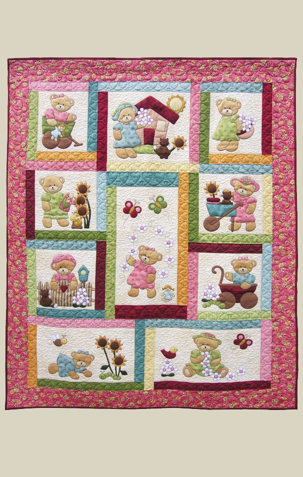 A quilt for a little girl, machine applique, pattern from Kids Quilts