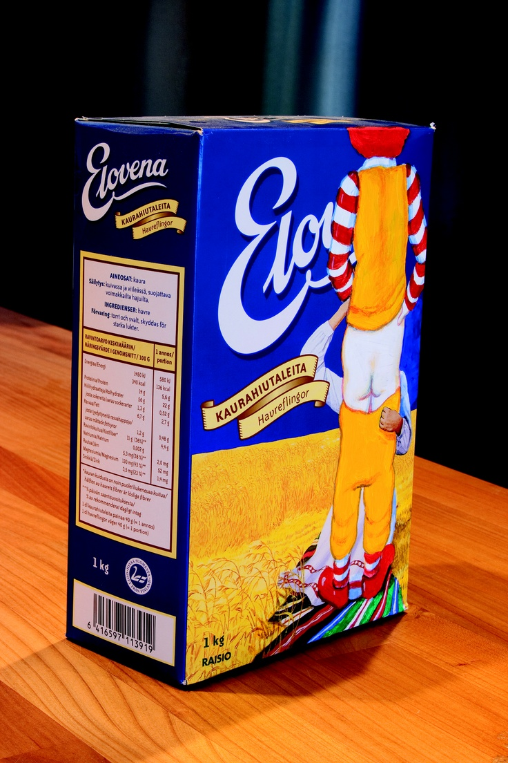 Elovena by Jani Leinonen. Acrylic on oatmeal package