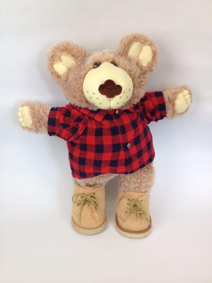 "Furskins 22"" VTG Plush Teddy Bear Xavier Roberts Cabbage Patch Farrell Red Plaid #FurskinsbyXavierRobertsCabbagePatch #PetsAnimals"