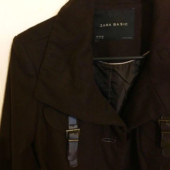 Flash Sale!Zara Basic belted Peacoat Gorgeous dark brown colored tie-waist Peacoat. In great condition! Length: 23 inches. Sale price firm. Zara Jackets & Coats Pea Coats