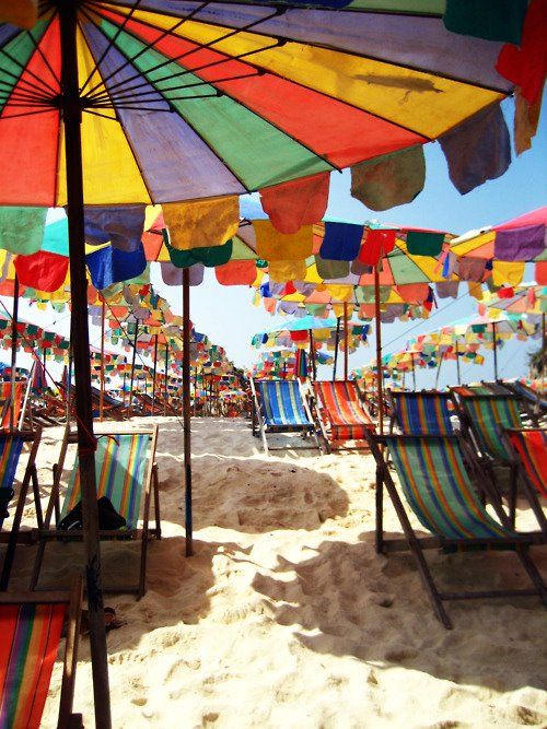 Umbrellas, beach, colour