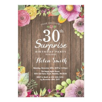 Rustic Floral Surprise 30th Birthday Invitation - birthday gifts party celebration custom gift ideas diy