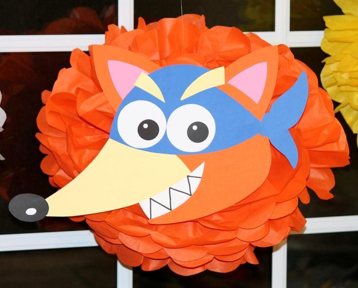 Swiper the Fox from Dora the Explorer pom pom kit party decoration