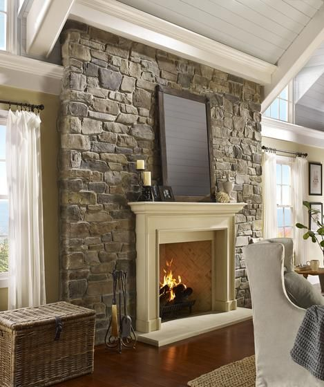 Stone Veneer Electric Fireplace Accent Wall: Cozy Neutral Living Room, Stone Accent Wall, Stone