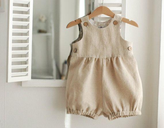 Baby romper overalls natuurlijke linnen bodietje door mimiikids