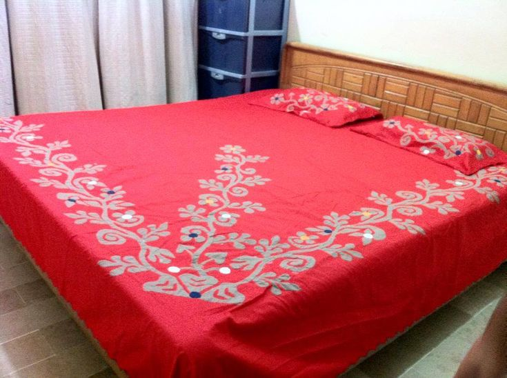 "Hand Made Applique Bed Sheet. Color guarantee. Fabric Pure Cotton. Size 108"" by 96"" inches..279 cm by 249 cm. 5 piece bed sheet. 1 sheet, 2 pillow, 2 cushion. Gently wash. imported.  Price 75 US $."