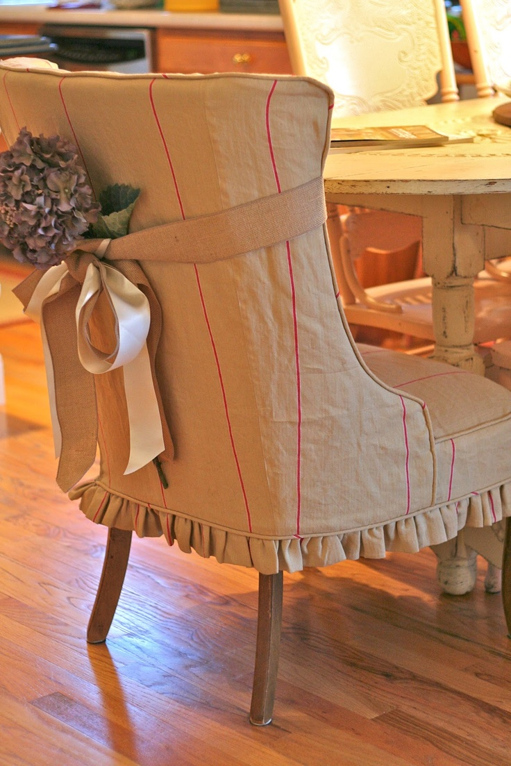 Dining Chair Slipcover With French Ticking Fabric