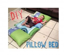 DIY Kids Pillow Bed-Super easy project! Simply sew pillow cases together and fill with pillows...remove pillows, wash, fold and store!