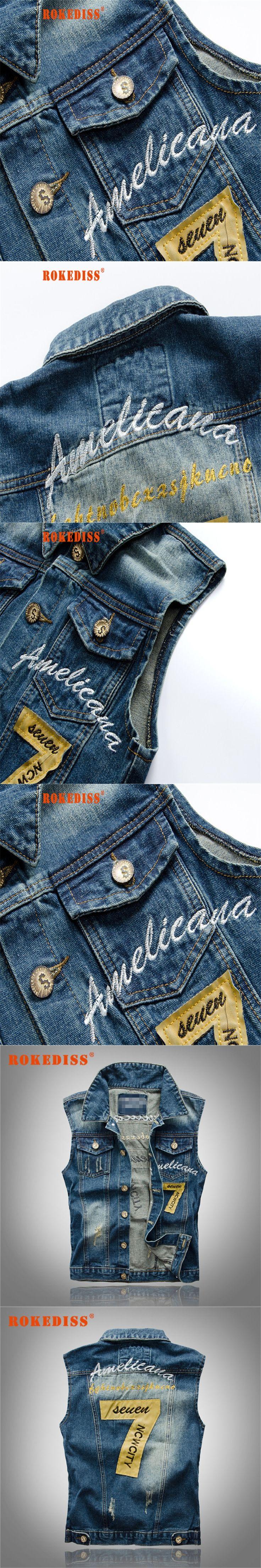 Denim Jeans Vest Men Letter Embroidery Male Jeans Waistcoat Hole Washed Cowboy Jean Denim Vest Sleeveless  5XL G265