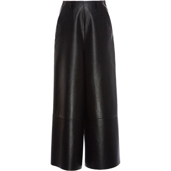 Lanvin Black Leather Culottes (€3.090) ❤ liked on Polyvore featuring pants, capris, black, genuine leather pants, lanvin, real leather pants, lanvin pants and leather trousers