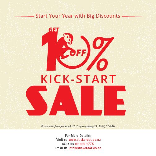 Avail our kickstart sale get discount for every purchase of regular priced stickers minimum of 1000 quantities