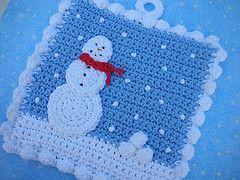 -: Christmas Crochet, Crochet Holiday Potholders, Holiday Crochet Potholders, Crochet Projects, Crochet Potholders Patterns, Crochet Snowman Potholders, Crochet Christmas Potholders, Christmas Gift, Crochet Christmas Doil