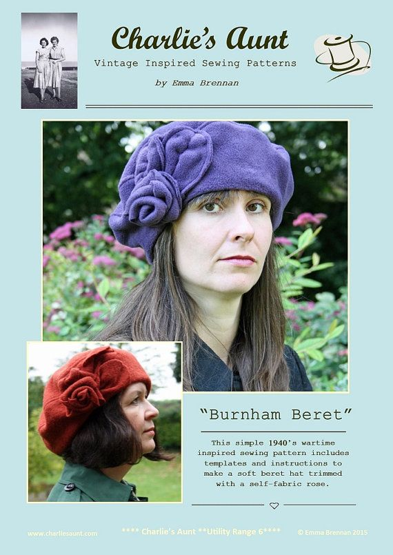 New  Sewing pattern to make the Bunham Beret - PDF pattern INSTANT DOWNLOAD   37b67b1f7a9