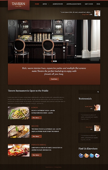 Great Web Design For a Tavern, Images even Move! #tavern #pubWebsite Template