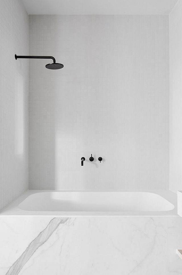 Bathroom in Statuario Matte by Maximum - Maple Apartments in Melbourne