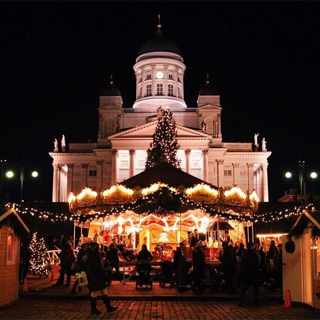 Helsinki Christmas market. The carousel is an antique and has come all the way from The Netherlands.