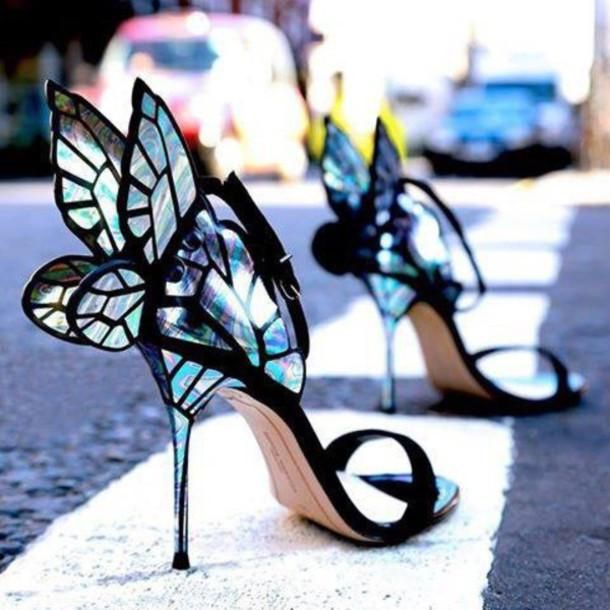 Black suede and fairy wing detail heels. Featuring an open toe d7660342242e