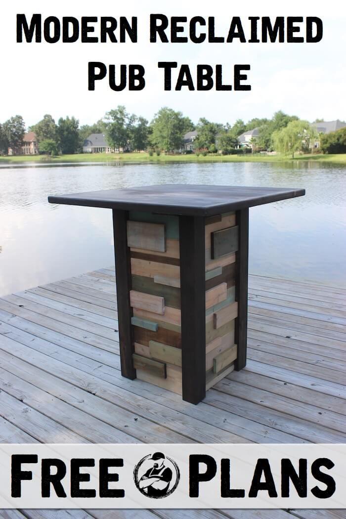 Modern Reclaimed Pub Table { DIY Plans } | rogueengineer.com #DIYpubtable #outdoorDIYplans