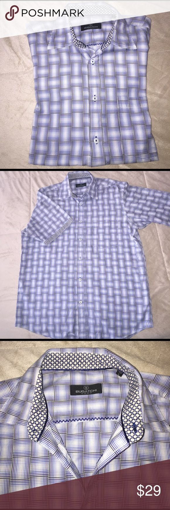 """Bugatchi uomo casual shirt for men Never been worn and washed once short sleeves casual shirt, regular fit. Measurements flat: sleeves 12"""" , shoulder to shoulder 20"""",  length 32"""" ,  waist 24"""" Bugatchi Shirts Casual Button Down Shirts"""