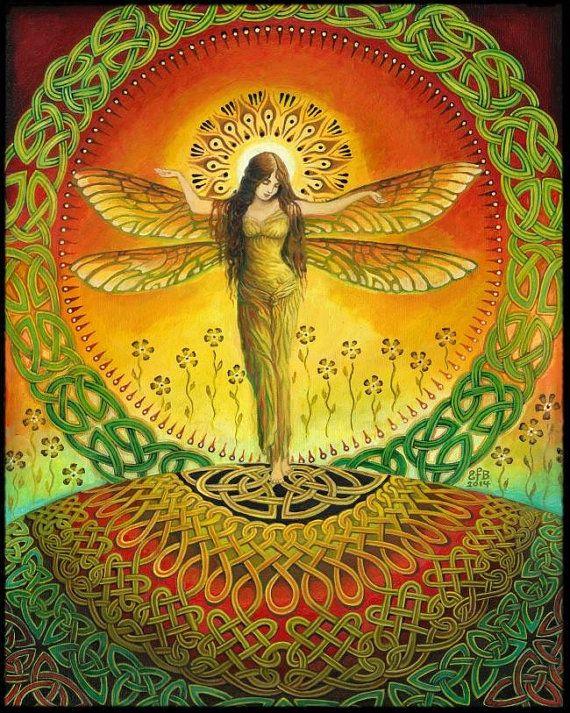 Dragonfly godin mythologie Keltische heidense origineel schilderij