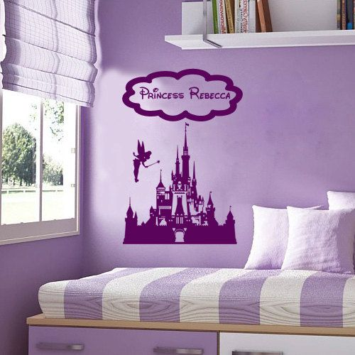 Disney fairy vinyl wall sticker decal princess fairy for Castle wall mural sticker