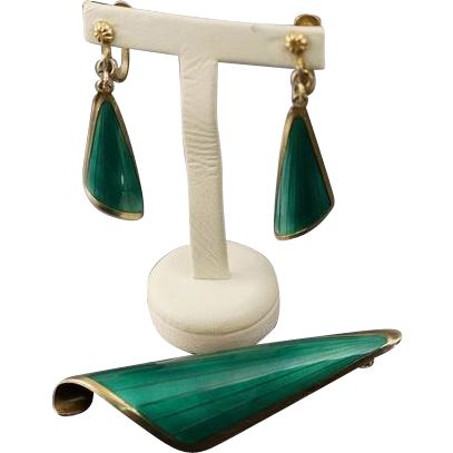 Modernist Oystein Balle Green Enamel Pin Earring Sterling Set Norway