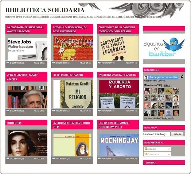 """La """"Biblioteca solidaria"""" se describe a sí misma como """"Plataforma para la promoción de personas libres y solidarias en un mundo donde los derechos de los más débiles son pisoteados. Todo hecho desde la más plena gratuidad"""". Se diferencia de otras bibliotecas digitales en la plena actualidad de los libros que ofrece. Aparecen en ella libros de jóvenes y de adultos."""