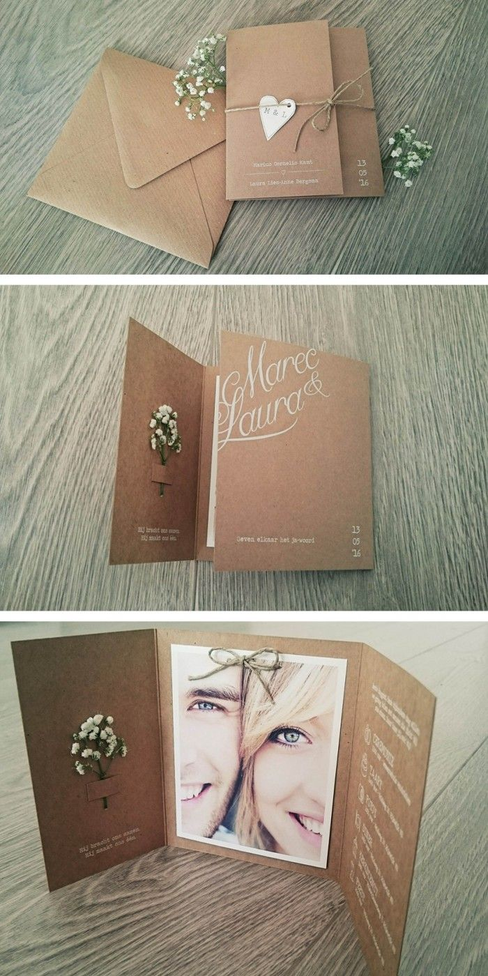 Deze trouwkaart is speciaal op maat ontworpen. Het enthousiaste bruidspaar stuurde deze foto's van het eindresultaat | vintage | rustiek | hartje | gipskruid | landelijke bruiloft | stro touw | kraft karton | foto | uniekkaartje . nl