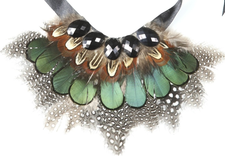 Baroque - Feather black ribbon necklace