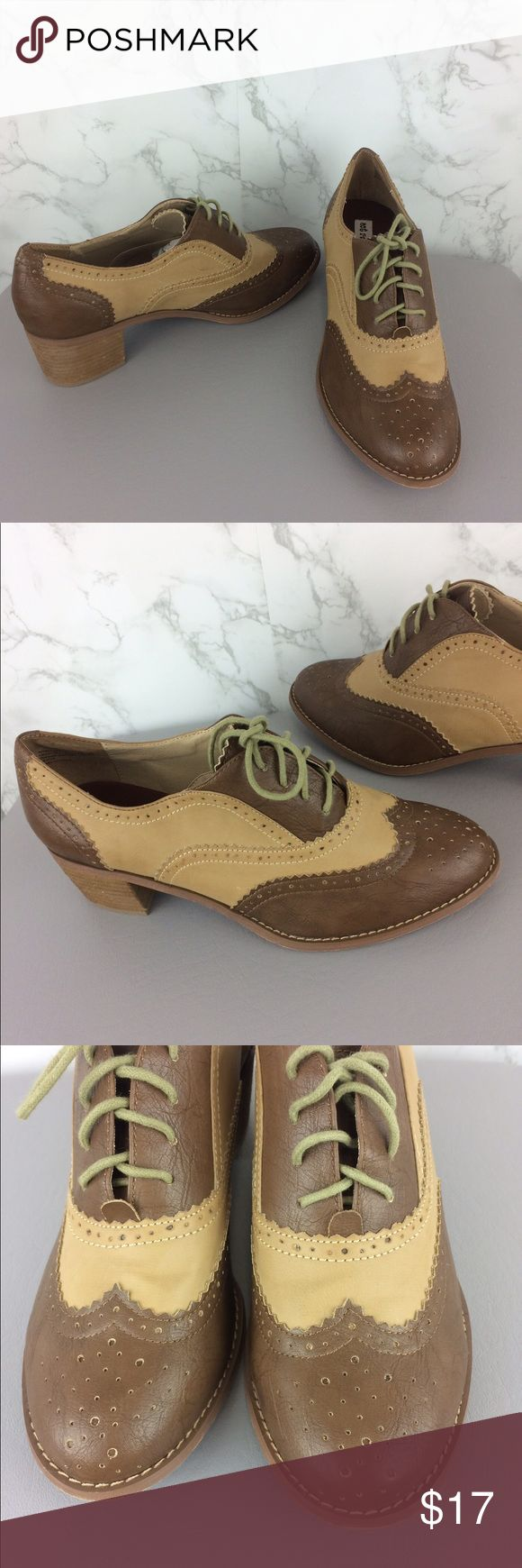 NOT RATED Oxford Vintage Style Shoes Size 9 1/2 NOT RATED brand. Oxford lace up Vintage Style shoes. Tan and brown. Size 9 1/2. Like new. Not Rated Shoes