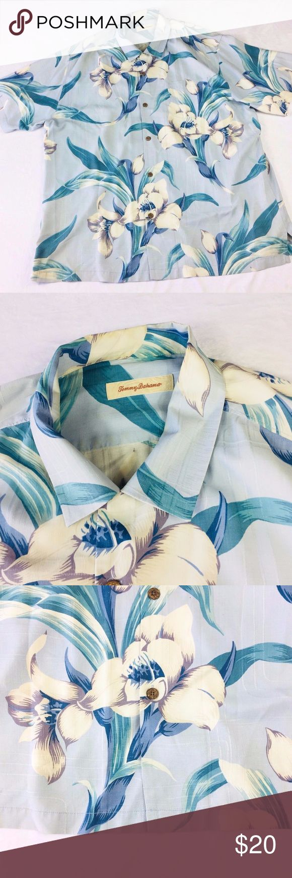 """Tommy Bahama 100% Silk Hawaiian Camp Shirt XXL ** MINOR FLAWS -- READ DESCRIPTION**   Size: 2XL Color: Multi-Colored -- main color is blue with some ivory and purple and green   Condition: Pre-owned - couple of spots w/ stains on front (see photos)  Measurements (in inches): *All measurements are taken with garment laying flat and are approximate in number*  Chest (armpit to armpit): 27.5""""  Length (top of shoulder to hem): 31""""  Sleeve Length (shoulder seam to cuff): 11.5""""   P30 Tommy Bahama…"""