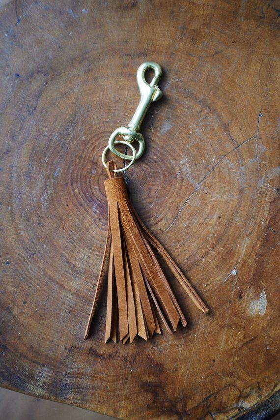 Leather tassel key chain Handmade by TheFamilyTradingCo on Etsy