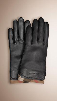 Gants en cuir avec bordure à motif check Noir   Burberry