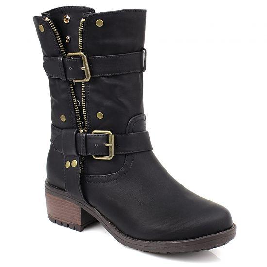 Μποτάκια με λουριά και τρουκ από το www.inshoes.gr [Ladies' calf boots with straps and studs by www.inshoes.gr]