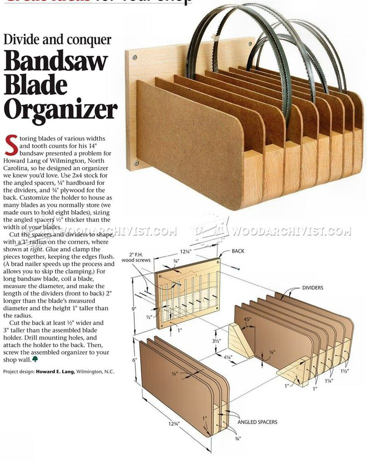 Band Saw Blade Organizer - Band Saw Tips, Jigs and Fixtures | WoodArchivist.com