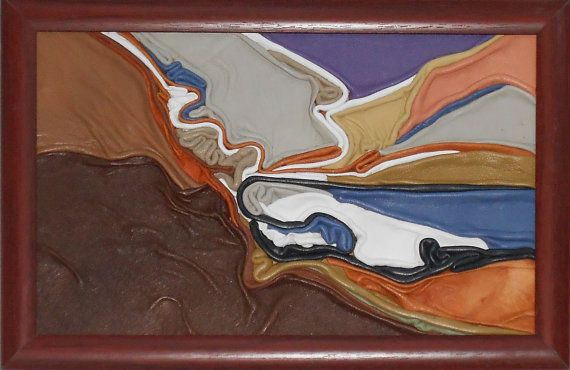 Seascape, leather picture, framed, handmade