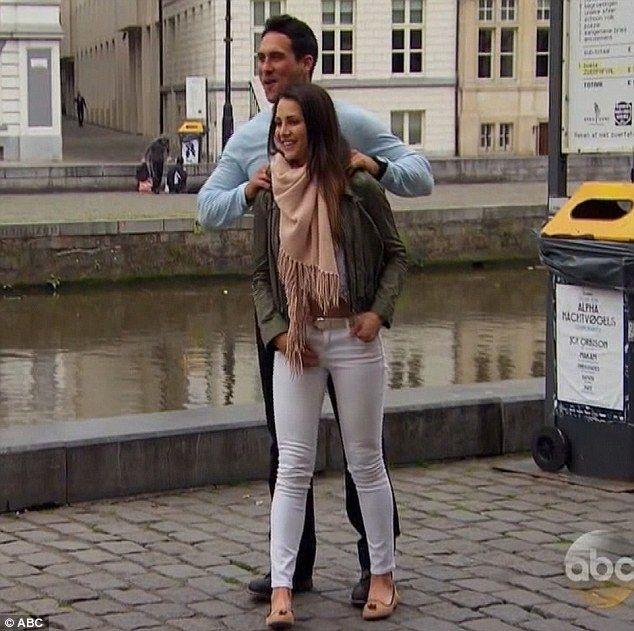 Fun date: Andi and Josh bounced around Belgium together...