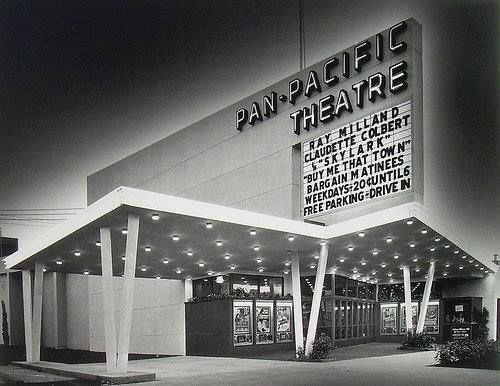 The Pan-Pacific Theatre, located at 7554 W. Beverly Boulevard, with double feature plus a Disney Cartoon in 1942. The weekday 'Bargain Matinee' price is 20¢ until 5 p.m. The theatre building also housed a cafe, ice rink and bowling alley. Built in 1942, the theatre closed in 1984 and was demolished not too long afterwards