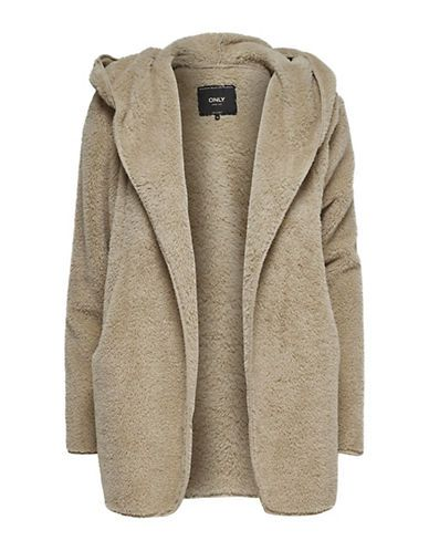 ONLY Hooded Open-Front Sherpa Coat   Wish List   Pinterest   Coat, Hoods  and Wish 2dd1b15c35