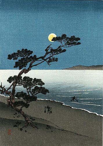Hasui Moonlit Woodblock Prints 1939-1970s