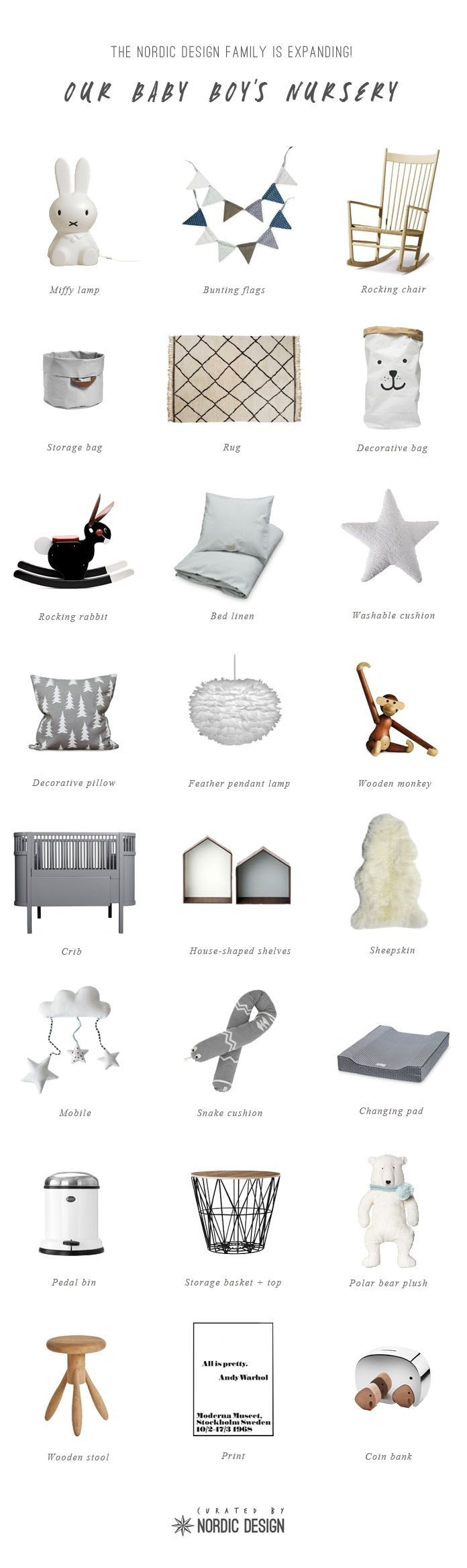 NordicDesign's Ultimate Nursery List - A simple palette for a serene atmosphere + a Scandinavian look + timeless design pieces