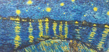 Купить или заказать Шарф шелковый батик 'Звездная ночь над Роной' по мотивам Ван Гога в интернет-магазине на Ярмарке Мастеров. Шелковый шарф с ручной росписью по картине Ван Гога 'Звездная ночь над Роной'. Выполнен в сложном смешении нескольких техник батика, точный повтор не возможен. Основные цвета ярко-синий и ярко-желтый, два контрастных, ярких цвета, прекрасно сочетающихся между собой. Этот аксессуар сделает нарядным и преобразит гардероб любой женщины! Возможен повтор в ...