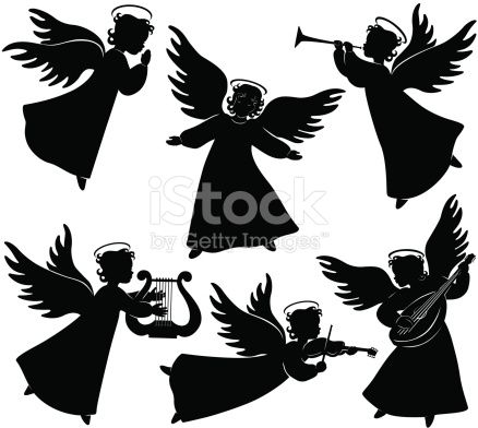 Set of six angels silhouettes including praying angel, and angels playing musical instruments.