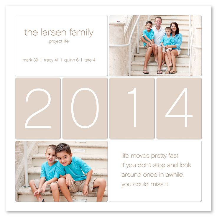 Project LIFE idea: the top left card for title page. Family name, family ages, simple, clean and clear!
