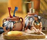 This 3-pc. ensemble includes a toothbrush holder, liquid soap and lotion dispenser, and soap dish that features a figure of a native maiden. Painted in rich Southwestern colors. Soap dish 8 34L x 5 14W....
