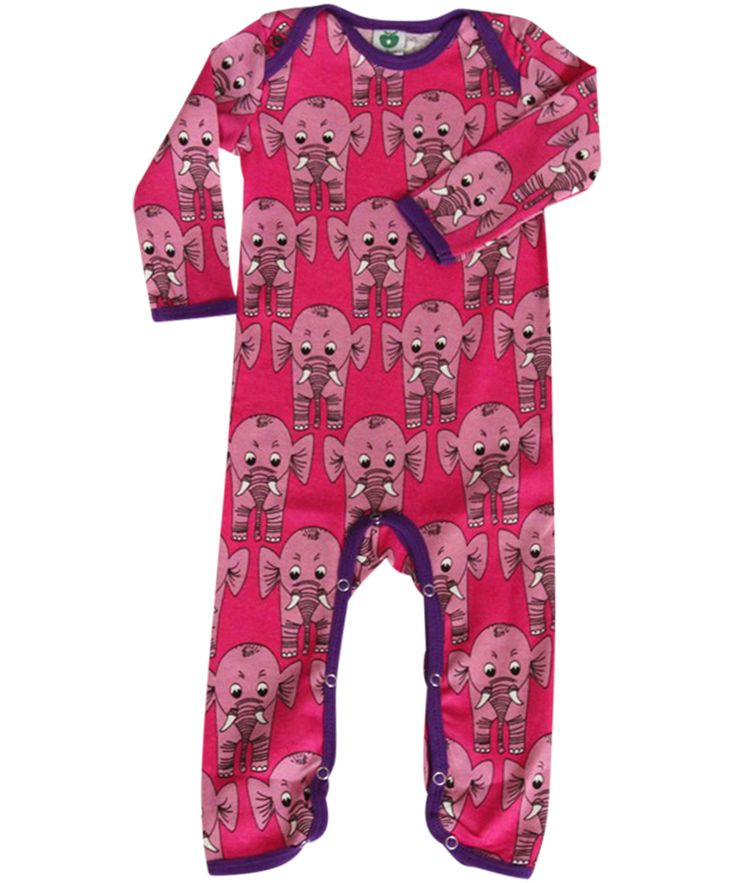 Småfolk adorable pink playsuit with elephants..