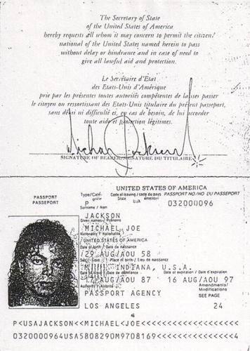 Michael Jackson passport.