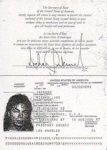 Michael Jackson passport.
