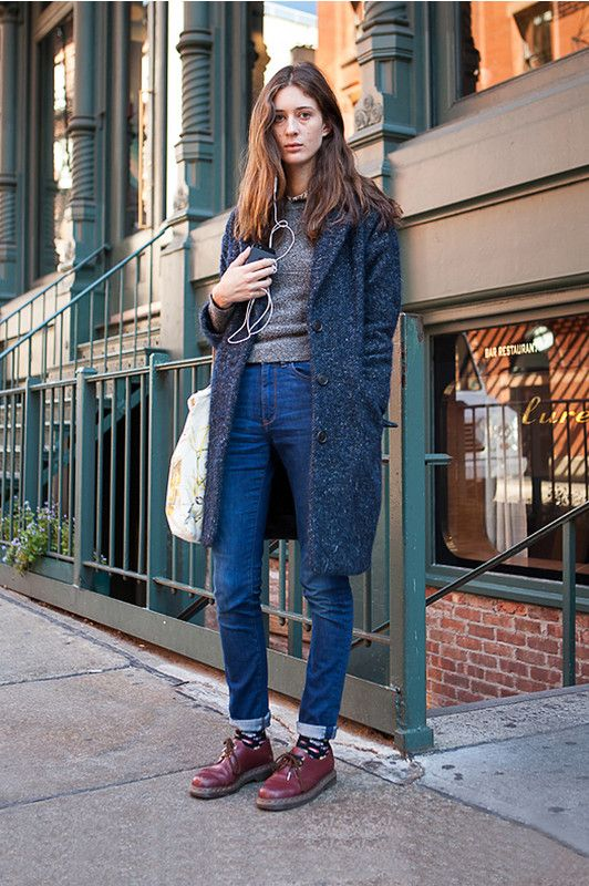 Petite Fashion:: Autumn or Winter: Speckled Charcoal Coat, Crew-neck Sweater, Skinny Jeans, and Dr. Martens. ♡