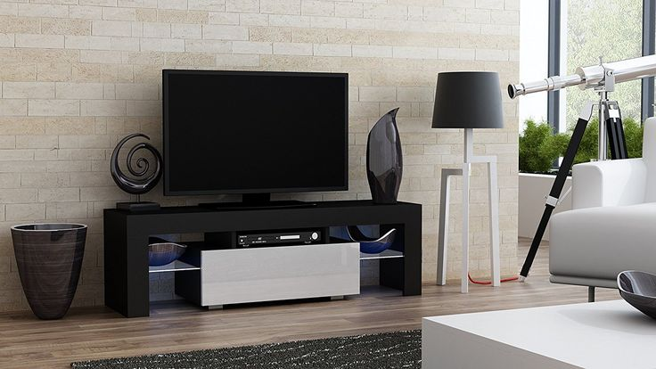 Modern Living Room With TV Stand MILANO 130 Modern LED TV Cabinet Living Room Furniture Tv Console fit for up to 55  flat TV screens  Capacity Tv Console for Modern Living Room (Black & White) – Color: Body: Black Matte ; Fronts: Bordeaux (burgundy) high gloss or Violet high gloss or...